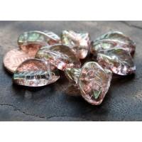 Transparent Topaz Pink Luster Czech Glass Beads, 14x9mm Leaf