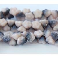 Light Opaque Pink Blue Matte Luster Czech Glass Beads, 7mm Button Flower