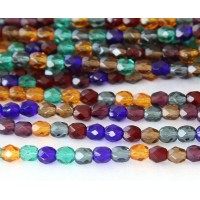 Winter Mix Czech Glass Beads, 4mm Faceted Round