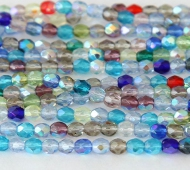 AB Mix Czech Glass Beads, 4mm Faceted Round