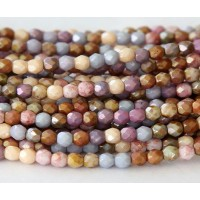 Opaque Luster Mix Czech Glass Beads, 4mm Faceted Round