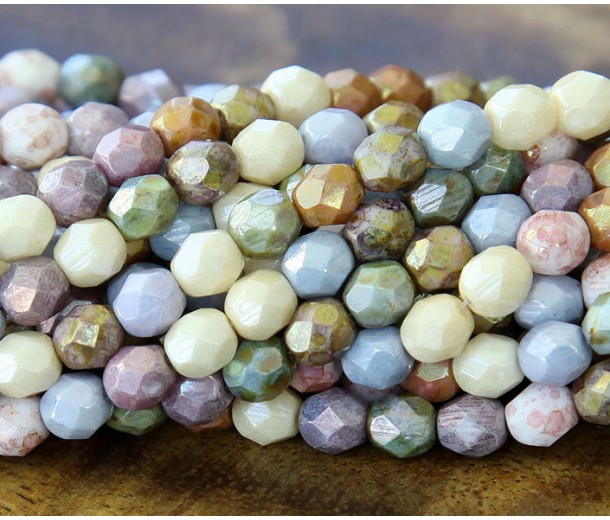 Opaque Luster Mix Czech Glass Beads, 6mm Faceted Round