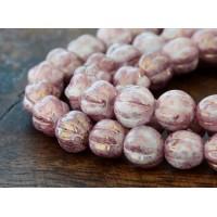 Opaque Topaz Pink Luster Czech Glass Beads, 8mm Melon Round