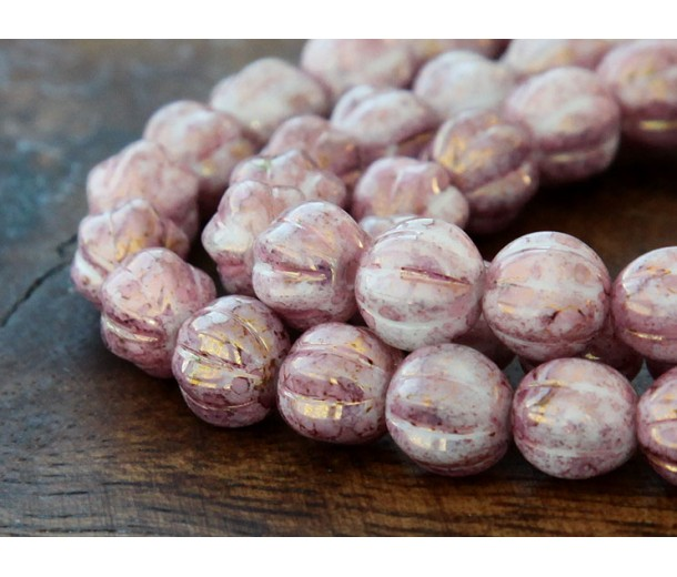 Opaque Topaz Pink Luster Czech Glass Beads, 8mm Melon Round