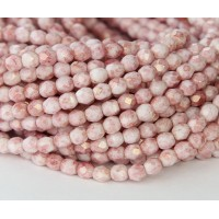 Opaque Topaz Pink Luster Czech Glass Beads, 4mm Faceted Round