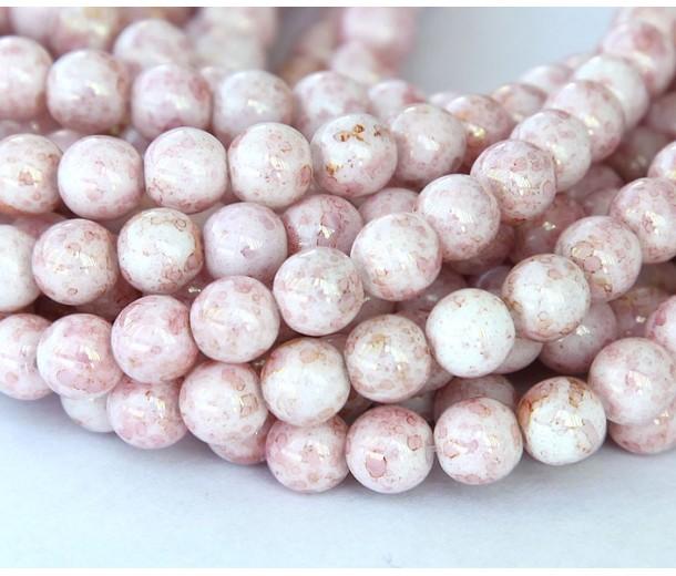 Opaque Topaz Pink Luster Czech Glass Beads, 6mm Round