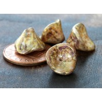 Opaque Gold/Smoky Topaz Luster Czech Glass Beads, 9x12mm Three Petal Flower