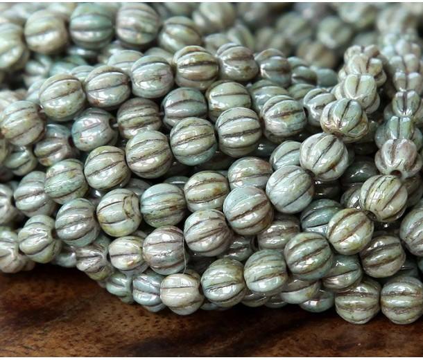 Opaque Moss Green Luster Czech Glass Beads, 5mm Melon Round