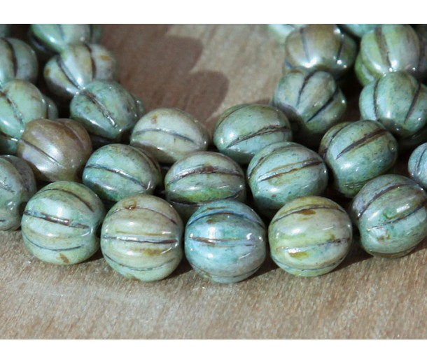 Opaque Green Luster Czech Glass Beads, 8mm Melon Round