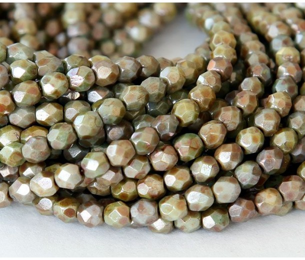 Opaque Green Luster Czech Glass Beads, 4mm Faceted Round