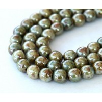 Opaque Green Luster Czech Glass Beads, 8mm Round