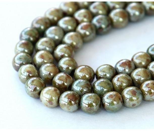 Opaque Green Luster Czech Glass Beads, 6mm Round