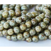 Opaque Green Luster Czech Glass Beads, 6mm Round