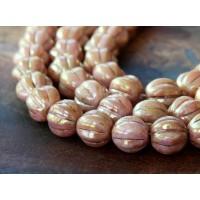 Opaque Rose Gold Topaz Luster Czech Glass Beads, 8mm Melon Round
