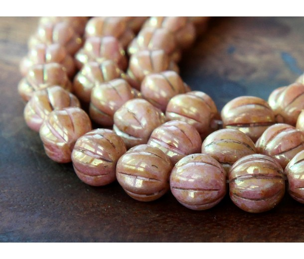 Opaque Rose Gold Topaz Luster Czech Glass Beads, 8mm Melon Round