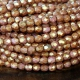 Opaque Rose Gold Topaz Luster Czech Glass Beads, 4mm Faceted Round