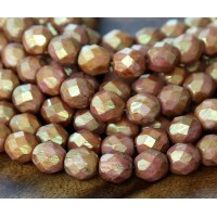 Opaque Rose Gold Topaz Luster Czech Glass Beads, 8mm Faceted Round