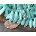 Milky Turquoise Luster Czech Glass Beads, 5x16mm Dagger, Pack of 25