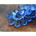 Sapphire Blue Czech Glass Beads, 9x6mm Teardrop, 2.75 Inch Tube