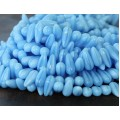 Baby Blue Coral Czech Glass Beads, 5x10mm Pointed Drop
