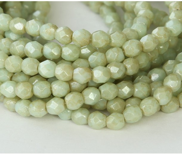 Opaque Pale Turquoise Stardust Czech Glass Beads, 4mm Faceted Round