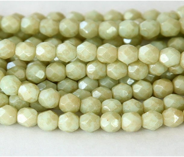 Opaque Pale Turquoise Stardust Czech Glass Beads, 6mm Faceted Round