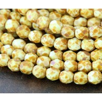 Opaque White Picasso Czech Glass Beads, 6mm Faceted Round