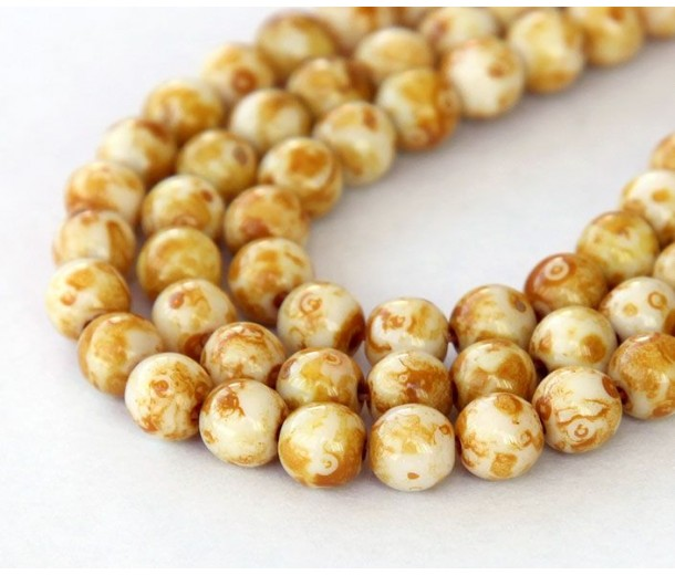 Opaque White Picasso Czech Glass Beads, 6mm Round