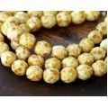Opaque White Picasso Czech Glass Beads, 8mm Faceted Round