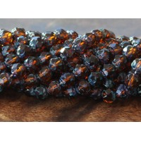Dark Topaz Picasso Czech Glass Beads, 6mm Renaissance