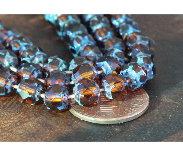 Dark Topaz Picasso Czech Glass Beads, 6mm Renaissance