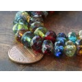 Dark Multicolor Picasso Czech Glass Beads, 9x6mm Rondelle