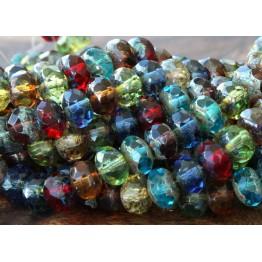 Dark Multicolor Picasso Czech Glass Beads, 9x6mm Rondelle