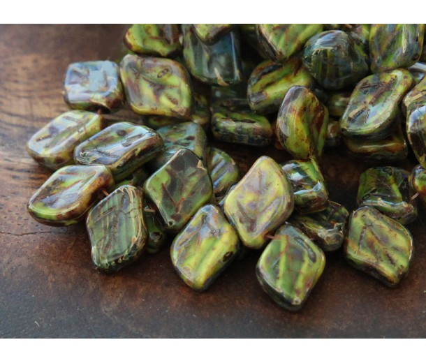 Opaque Yellow Jet Picasso Czech Glass Beads, 12x9mm Leaf