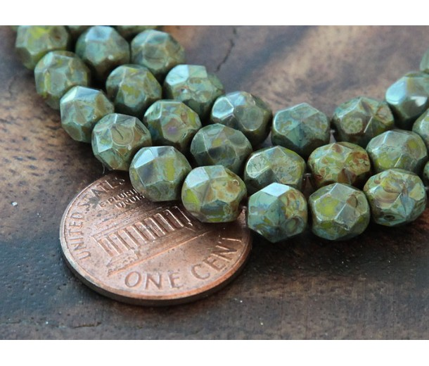 Opaque Olive Picasso Czech Glass Beads, 6mm Faceted Round