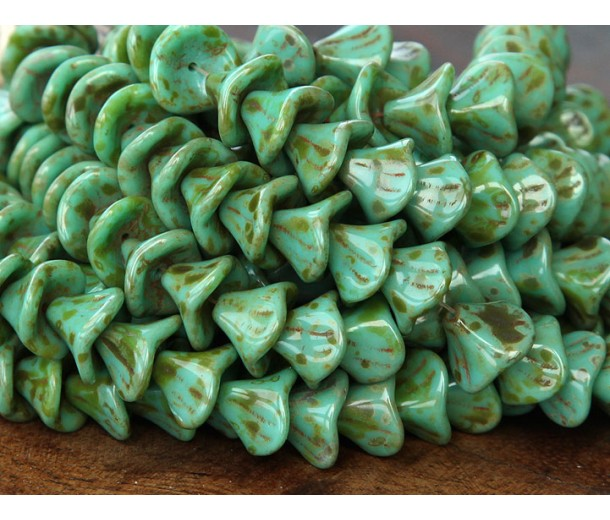 Opaque Turquoise Picasso Czech Glass Beads, 9x12mm Three Petal Flower