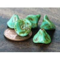 Opaque Turquoise Picasso Czech Glass Beads, 9x12mm Three Petal Flower, Pack of 12