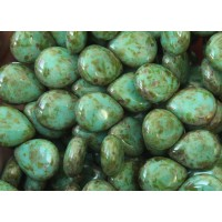 Opaque Turquoise Picasso Czech Glass Beads, 12x16mm Pear Shaped Drop