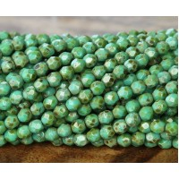 Opaque Turquoise Picasso Czech Glass Beads, 4mm Faceted Round
