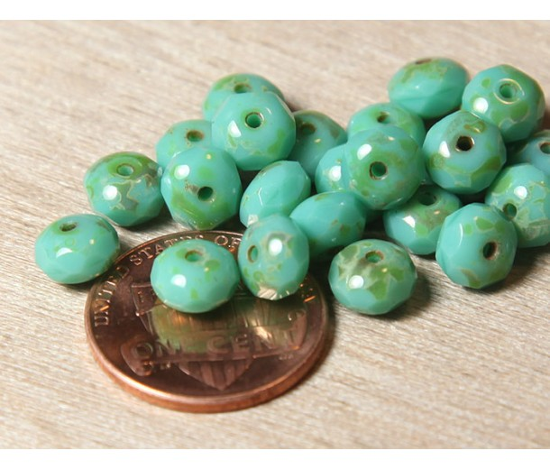 Turquoise Picasso Czech Glass Beads, 7x5mm Rondelle