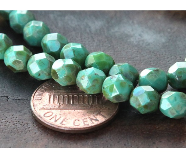 Opaque Turquoise Picasso Czech Glass Beads, 6mm Faceted Round
