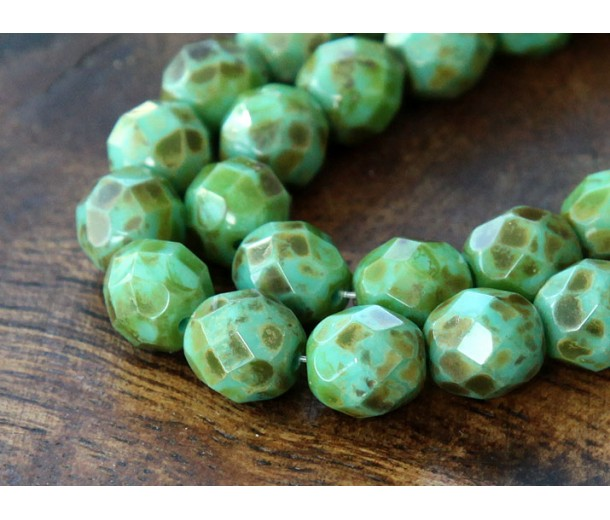 Opaque Turquoise Picasso Czech Glass Beads, 8mm Faceted Round