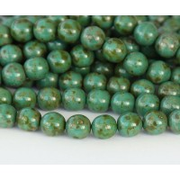 Opaque Turquoise Picasso Czech Glass Beads, 8mm Round