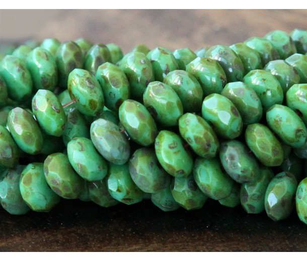 Turquoise Full Coat Picasso Czech Glass Beads, 7x5mm Rondelle