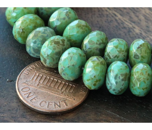 Turquoise Full Coat Picasso Czech Glass Beads, 9x6mm Rondelle