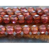 Milky Pink Picasso Czech Glass Beads, 6mm Renaissance