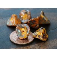 Yellow Picasso Czech Glass Beads, 9x12mm Three Petal Flower, Pack of 12