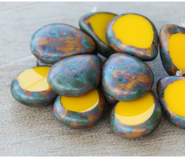 Sunflower Yellow Picasso Czech Glass Beads, 12x16mm Table Cut Drop, Pack of 6