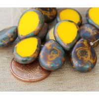 Sunflower Yellow Picasso Czech Glass Beads, 12x16mm Table Cut Drop
