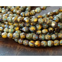Sunflower Yellow Picasso Czech Glass Beads, 4mm Faceted Round